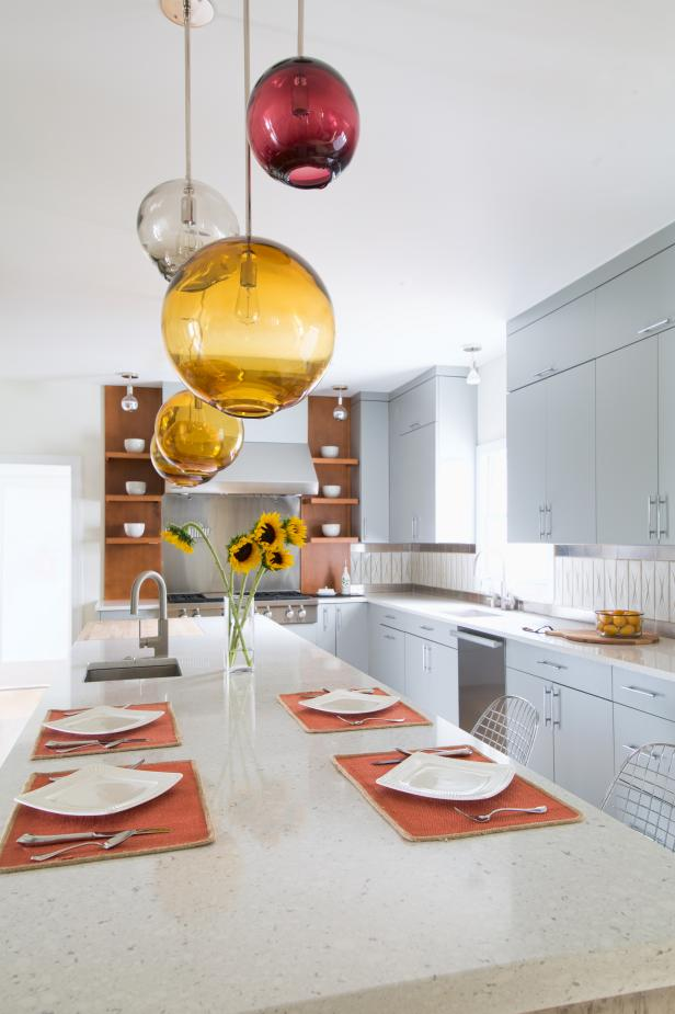 Kitchen Island with Colored Glass Pendants