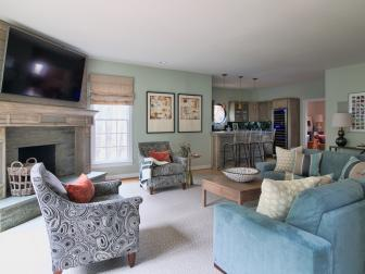 Family Room with Large Fireplace and Bar
