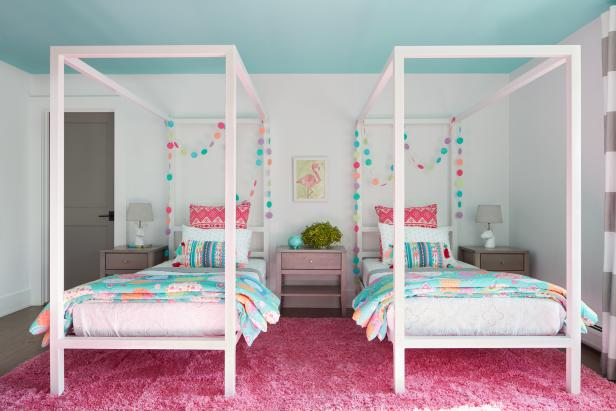 Transitional Girls Room With Pink Rug
