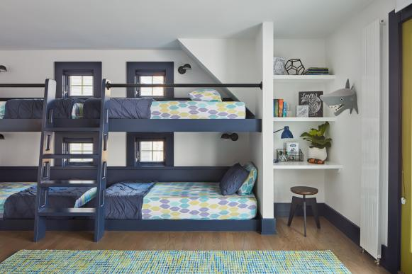 Boys Room with Navy Bunk Beds