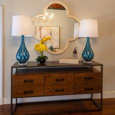 Modern Console Table and Quatrefoil Mirror