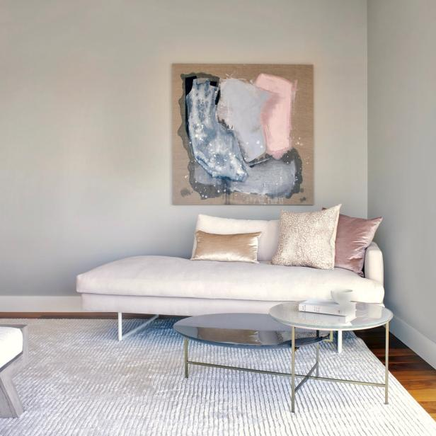 Contemporary Art Hangs Above Chaise Lounge In Seating Nook