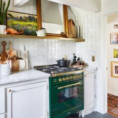 Vintage-Inspired Kitchen With Green Oven