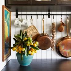 Kitchen Details With Wall-Mounted Rack
