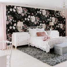 Master Bedroom with Black and Pink Floral Wallpaper