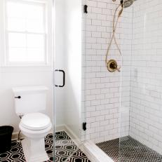 Master Bathroom with Black Hexagon and Subway Tile