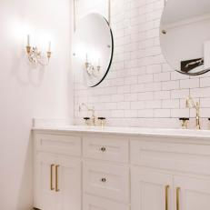 White Double Vanity with Pull-Out Step