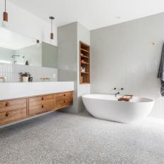 Asian Master Bathroom With Gray Towel
