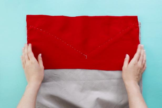 Sew the the rectangle of felt to the inside of the tote bag.