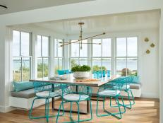 Modern Coastal Dining Room with Corner Window Seat