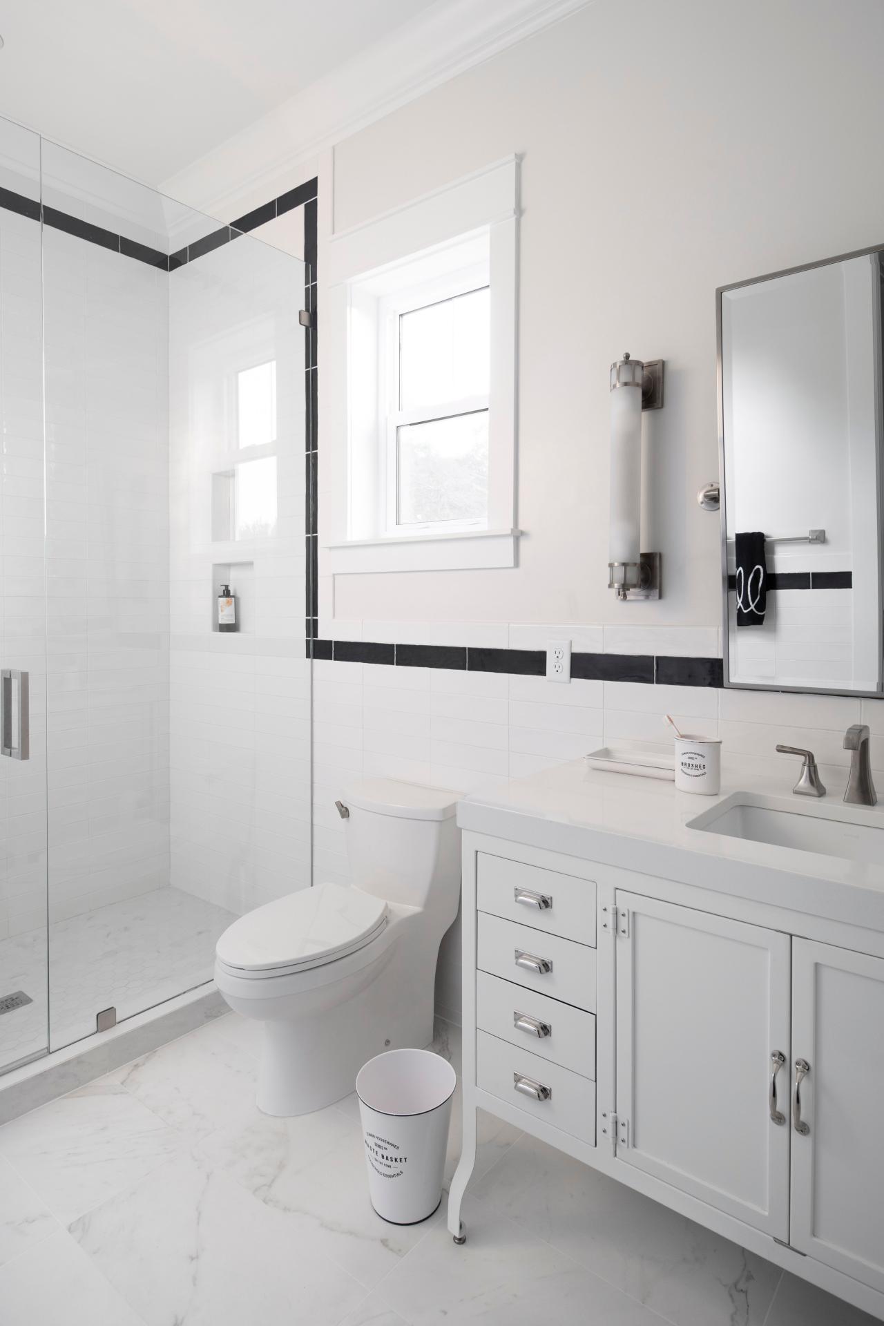 White Bathroom With Black Tile Trim Hgtv