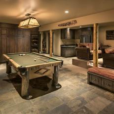 Rustic Game Room with Pool Table