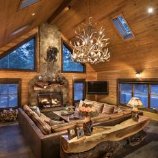 Rustic Cabin Great Room with Stone Fireplace