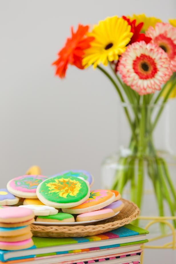 Floral-Inspired Icing on Cookies Made With Tie-Dye Colors