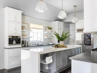 Gray and White Transitional Kitchen With Greenery