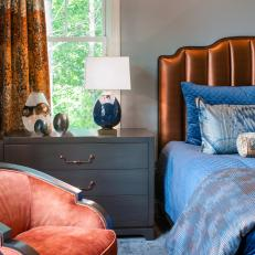 Contemporary Master Bedroom With Orange Curtains