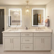 Double Vanity Bathroom With LED Lights