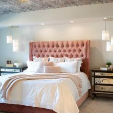 Contemporary Bedroom With Wallpapered Ceiling