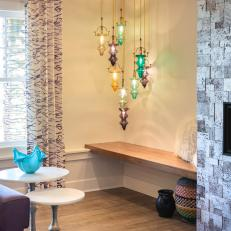 Multicolored Pendant Lights and Bench