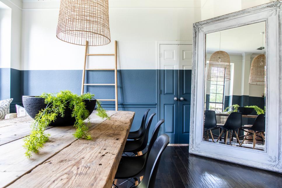Scandinavian Dining Room With Floor Mirror Hgtv