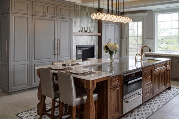 Eat-In Kitchen With Island Seats For Five And Modern Chandelier Above