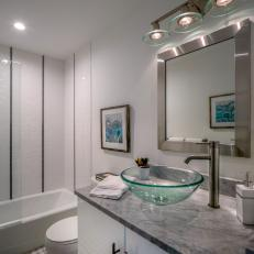 Small Modern Bathroom With Vertical Subway Tile