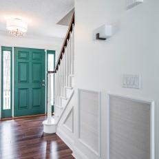 Foyer With Green Front Door