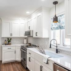 White Transitional Kitchen With Floral Shade