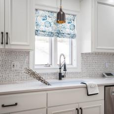 White Kitchen With Blue Floral Shade