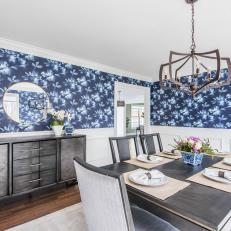 Blue Transitional Dining Room With Gray Buffet