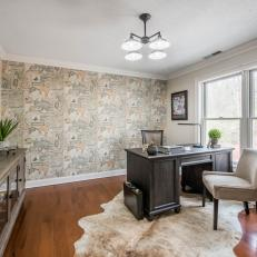 Transitional Home Office With Map Wallpaper