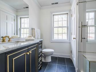 Black and White Master Bathroom With Black Floor