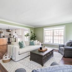 Green Transitional Living Room With Gray Chair