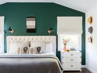 Transitional Master Bedroom With Green Accent Wall