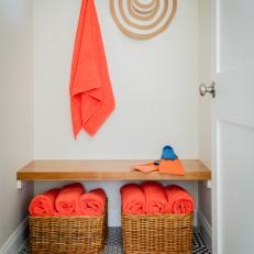 Changing Room With Orange Towels
