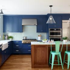 Colorful Kitchen With Dark Blue Cabinets
