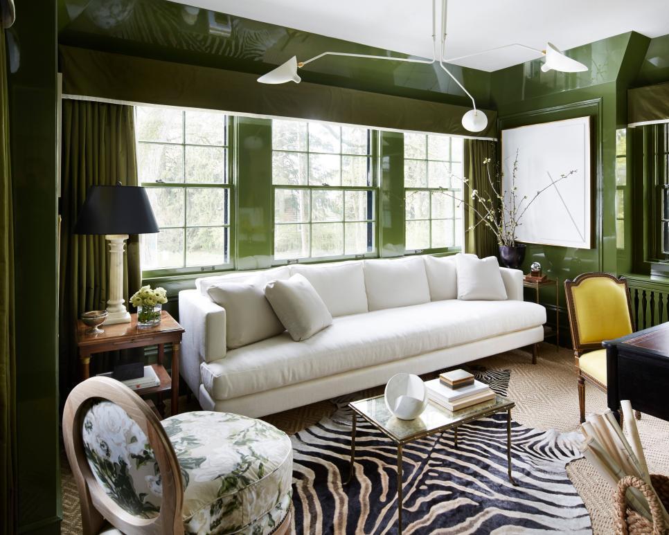 Green Contemporary Sitting Room With Zebra Rug   HGTV