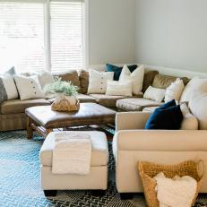 Transitional Living Room With Basket