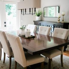 Transitional Dining Room With Metal Tray
