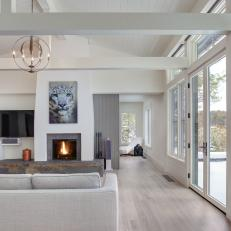 White Contemporary Open Plan Living Room