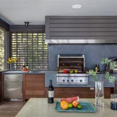 Gray Porch Kitchen With Grill