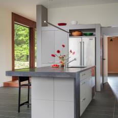 Modern Kitchen With Red Flowers