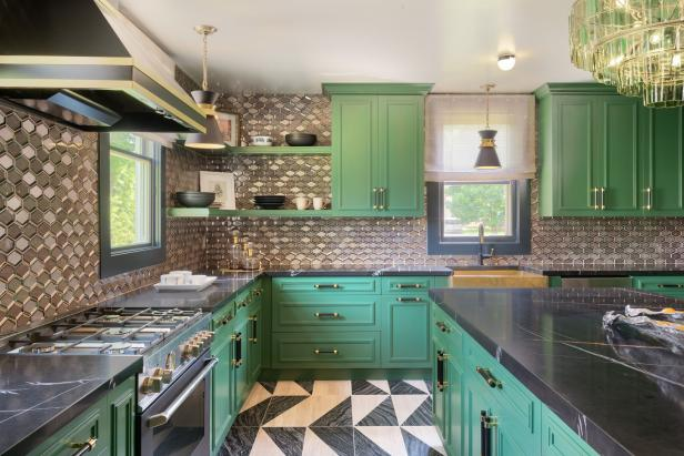 Green Kitchen With Black Countertops