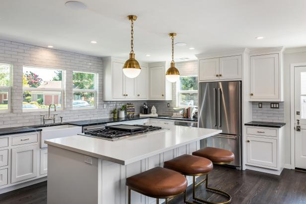 White Chef Kitchen With Leather Stools