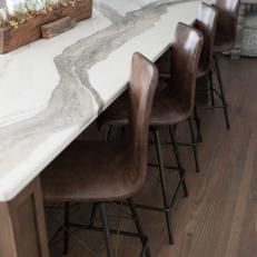 Marble Kitchen Countertop and Leather Barstool