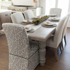 Dining Table With Gray Leopard Chairs
