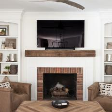 Transitional Neutral Living Room With Brick Fireplace