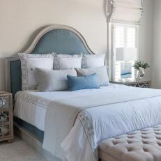 Transitional Master Bedroom With Blue Bed