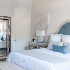Transitional Master Bedroom With Blue Headboard