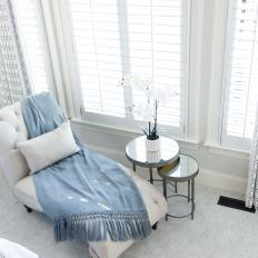 White Chaise and Blue Throw